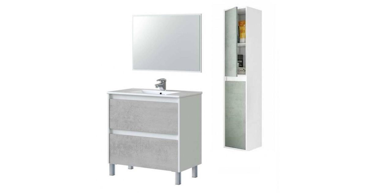 Mobile Bagno 80 Cm Con Colonna Lavabo E Specchio Bianco Cemento Dakota 99420