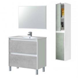Mobile bagno 80 cm con colonna, lavabo e specchio bianco/cemento - Dakota 99420