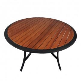 Tavolo rotondo in acciaio Da Giardino 115xh70 Cm con Doghe In Legno Riviera