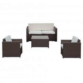 Salotto da esterno in polirattan con divano, poltrone, tavolino e cuscini Maiorca