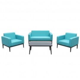 Salotto da esterno in tessuto con divano, poltrone, tavolino e cuscini Vienna Azzurro