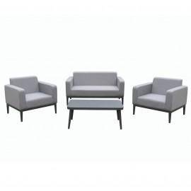 Salotto da esterno in tessuto con divano, poltrone, tavolino e cuscini Vienna Grigio