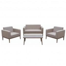 Salotto da esterno in tessuto con divano, poltrone, tavolino e cuscini Vienna Beige