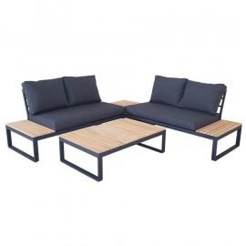 Salotto ad angolo in legno e alluminio con divano, cuscini e tavolino Andorra