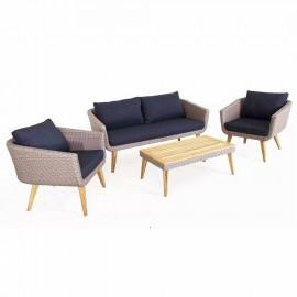 Salotto in polirattan, alluminio e legno con divano, poltrone, cuscini e tavolo Chelsea