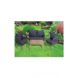 Salotto in corda, alluminio e legno con divano, poltrone, cuscini e tavolo Daigo
