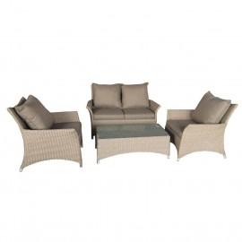Salotto da esterno in polirattan con divano, poltrone, tavolino e cuscini Procida