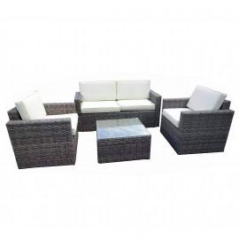 Salotto da esterno in polirattan con divano, poltrone, tavolino e cuscini Sorrento