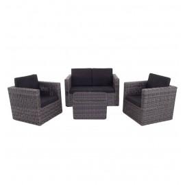 Salotto da esterno in polirattan con divano, poltrone, tavolino e cuscini Vegas