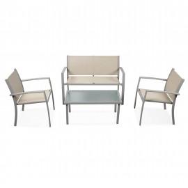 Salotto da esterno in acciaio verniciato con divano, poltrone e tavolo Sierra Marrone