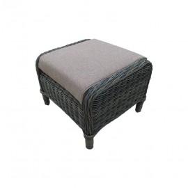 Pouffer da esterno in polirattan con cuscino 55x52x40 cm
