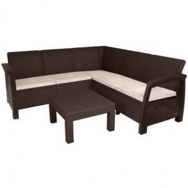 Salotto ad angolo da esterno in polirattan completo di cuscini e tavolino Corfù brown