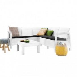 Salotto ad angolo da esterno in polirattan completo di cuscini e tavolino Corfù bianco