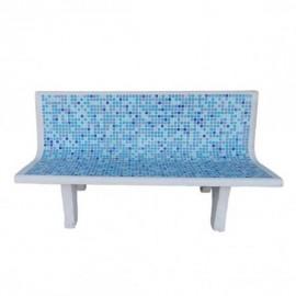 Panchina da esterni in cemento con mosaico azzurro mod. Mosaico