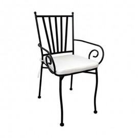 Sedia Da Giardino In Ferro Verniciato con Cuscino 52 x 51 x h 90 Cm Ravello Domus