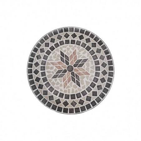 Set tavolo rotondo 60 cm in mosaico di pietra Capri Domus + 2 sedie Praiano Domus