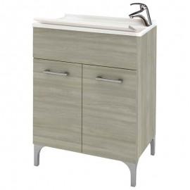Lavatoio in legno 60 x 50 cm x altezza 84 cm rovere grigio completo di vasca e tavoletta