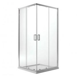 Box doccia 80x100 cm ad angolo due lati cristallo 6 mm trasparente Jonathan