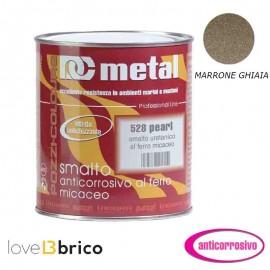 Smalto al ferro micaceo 0,75 lt Colore Marrone ghiaia - Metal 528 Pozzi