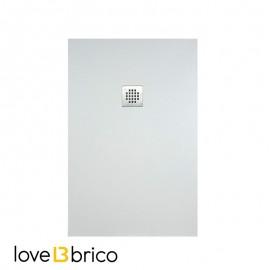 Piatto doccia in mineralmarmo 80x100 cm bianco effetto pietra con griglia e piletta sifonata Jonathan