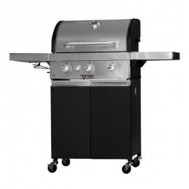Barbecue a gas con pietra lavica KeGrill 3 fuochi e coperchio inox