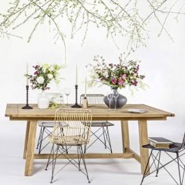 Sedia moderna in legno intrecciato con gambe in acciaio Bizzotto Lucila