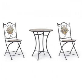Set bistrot da arredo esterno tavolino 60 cm e sedie pieghevoli effetto maiolica Bizzotto