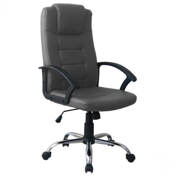 Poltrona direzionale per ufficio ergonomica girevole in pelle grigia President