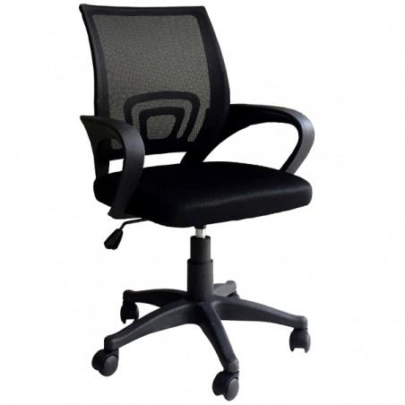 Poltrona da ufficio girevole ergonomica per scrivania schienale in rete Genius Nera