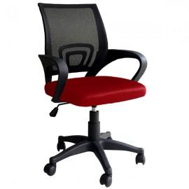 Sedia ergonomica girevole rossa e nera per ufficio schienale antisudore Genius