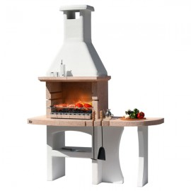Barbecue In Muratura A Legna E Carbonella In Marmo Granulato 170x 71 x H 232 Cm Dubai Crystal Sunday