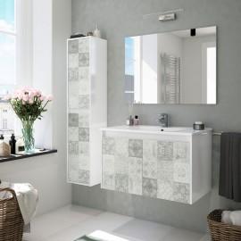 Mobile bagno sospeso 80 cm 2 ante con lavabo specchio e colonna mosaico grigio