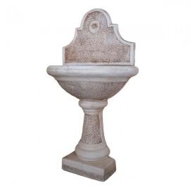 Fontana A Parete Da Giardino In Cemento Decorato mod. Bucciardata Rosa