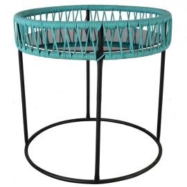 Due Poltrone In Corda Da Esterno E Tavolino In Vetro Set Bistrot Da Giardino Azzurro Marino