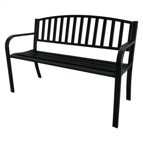 Panchina Da Esterni Nera In Acciaio Con Braccioli 119x50xH75 cm Per Arredo