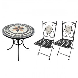 Set tavolo rotondo 60 cm in mosaico di pietra + 2 sedie pieghevoli in acciaio