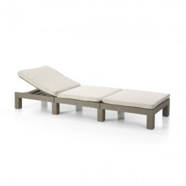 Lettino Con Cuscini Reclinabile In Rattan 195x65xH22 Cm Marrone Cappuccino Daytona Allibert