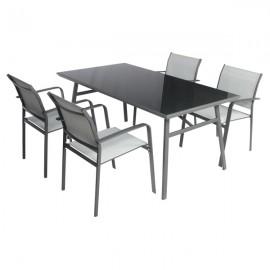 Set Tavolo Da Pranzo Per Esterno Con 4 Sedie In Acciaio E Piano In Vetro Grigio