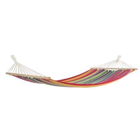 Amaca Con Supporto In Legno Di Larice Struttura 316x120xH125 Cm Bizzotto Tela Multicolore
