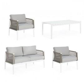Salotto in corda da esterno tortora e bianco con tavolino e cuscini Bizzotto