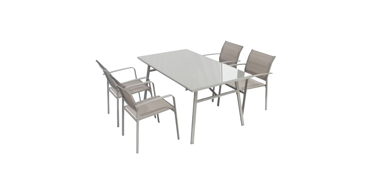 Set Da Pranzo Per Esterno Tavolo Con Sedie In Acciaio E Piano In Vetro Marrone