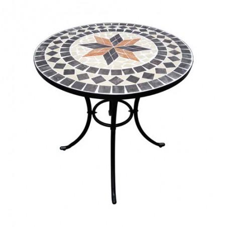 Set Bistrot Tavolo Mosaico E 2 Sedie In Acciaio Da Esterno Senza Braccioli Con Cuscini