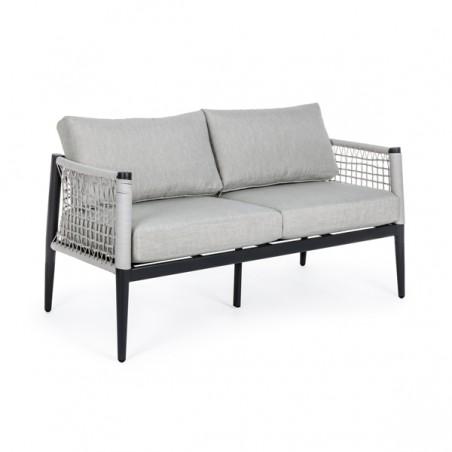 Salotto in corda da esterno antracite con tavolino e cuscini Calypso Bizzotto