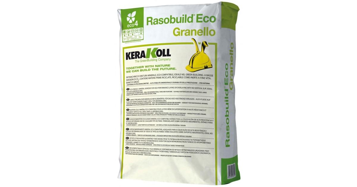 Intonachino di finitura Kerakoll Rasobuild Eco Granello 25 kg 01844 bianco