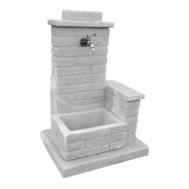 Fontana Da Giardino In Pietra Con Muretto El Paso Bonfante Grigio 55x63x65 Cm