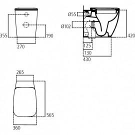 Sanitari Filo Muro Ideal Standard In Ceramica Vaso E Bidet + Sedile Serie 21