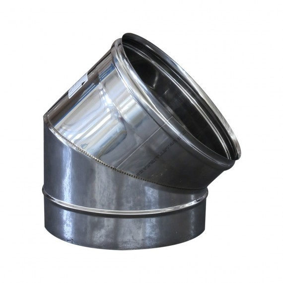 Curva 45° monoparete in acciaio inox AISI 304 per canna fumaria