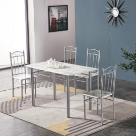 Tavolo Da Pranzo Set Completo Con 4 Sedie Effetto Marmo 120x70 Arredo Cucina