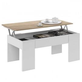 Tavolino Da Salotto Con Piano Elevabile 50x100x45 Cm Rovere E Bianco