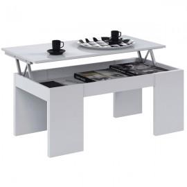 Tavolino Da Salotto Con Piano Elevabile 50x100x43 Cm Bianco Lucido